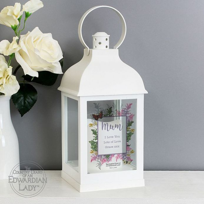Country Diary Botanical White Lantern (personalised)